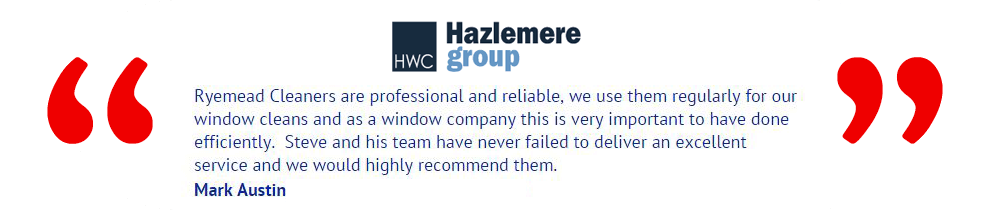Customer Testimonials for our Commercial Window Cleaners in Hemel Hempstead