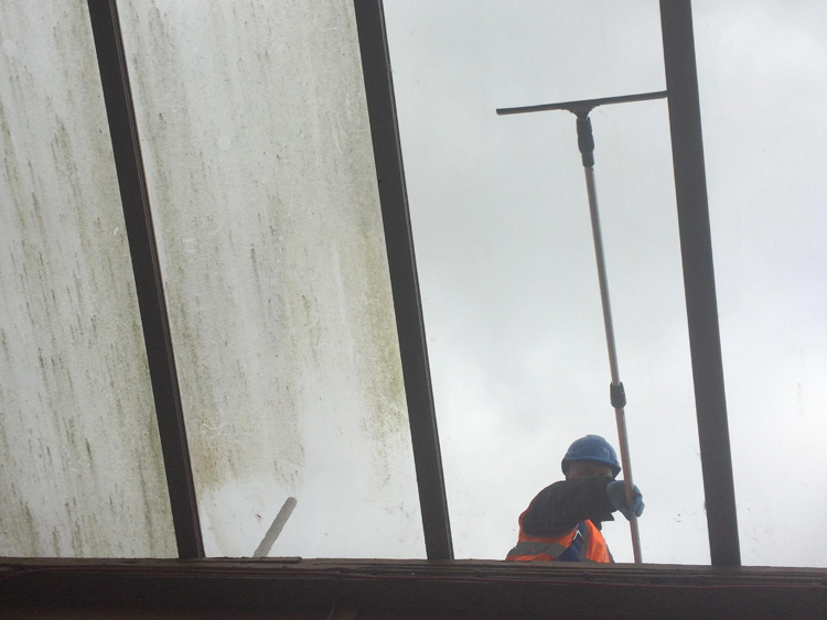 Commercial Window Cleaning at Leamington Spa Train Station - Build Up Of Dirt