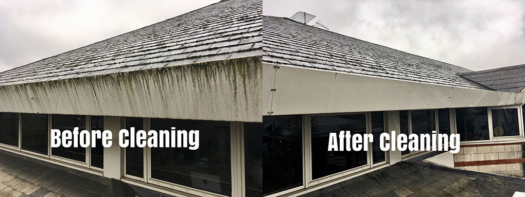 Before and after - commercial gutter cleaning