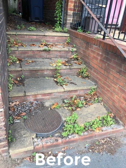 The broken steps before repairing